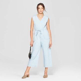 Women's Sleeveless Deep V-Neck Denim Wide Leg Jumpsuit - Universal Thread™ Light Blue S