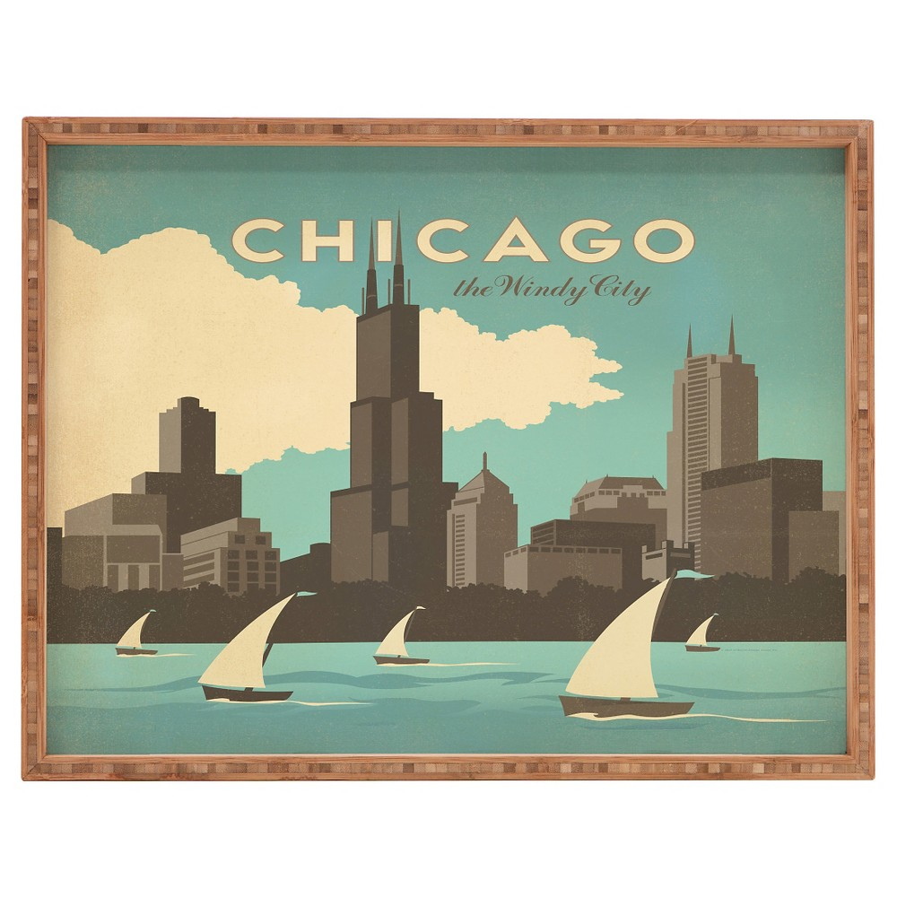 Image of Anderson Design Group Chicago Rectangle Tray - Green - Deny Designs, Blue