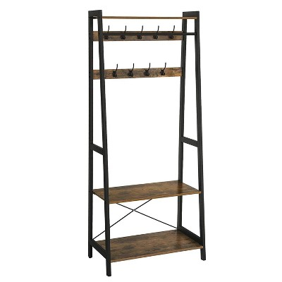 Iron Framed Coat Rack with Two Storage Shelves Brown and Black - Benzara