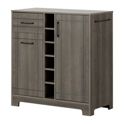 Vietti Bar Cabinet with Bottle and Glass Storage - Gray Maple - South Shore