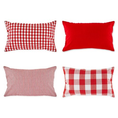 """4pk 12""""x20"""" Assorted Throw Pillow Covers Red/White - Design Imports"""