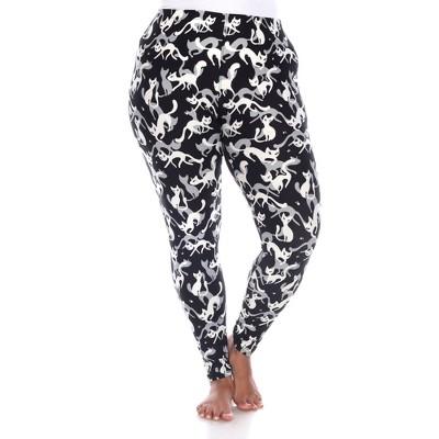 Women's Plus Size Super Soft Midi-Rise Printed Leggings - One Size Fits Most Plus - White Mark