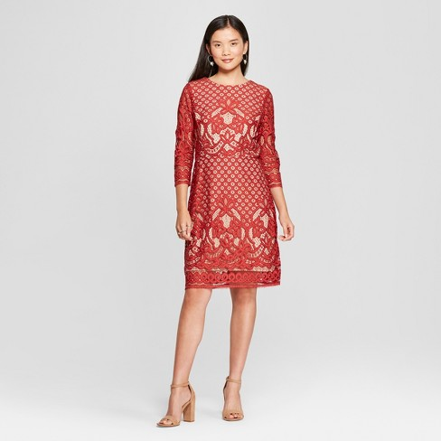 Womens Lace Dress Melonie T Rust