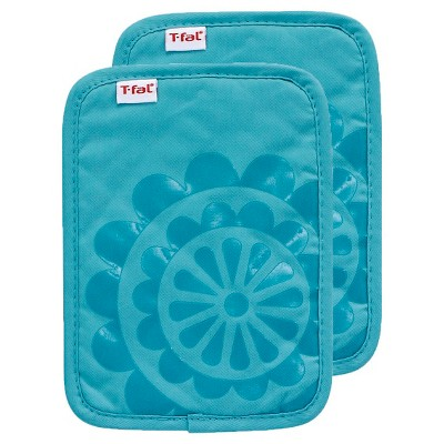 Teal Medallion Silicone Pot Holder 2 Pack (6.75 x9 )T-Fal