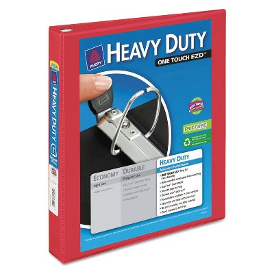 """Avery Heavy-Duty View Binder w/Locking 1-Touch EZD Rings 1"""" Cap Red 79170"""