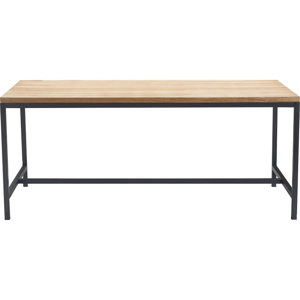 Dobson Natural Wood and Black Metal Dining Table Natural Finch