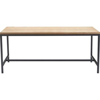 Dobson Natural Wood and Black Metal Dining Table Natural - Finch