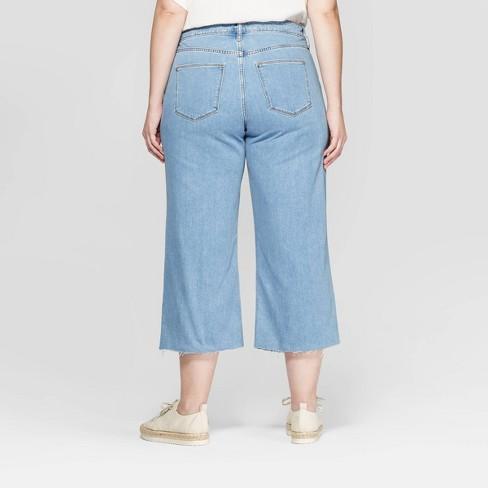 3d023112455 Women s Plus Size Wide Leg Crop Jeans - Universal Thread™ Light Wash    Target