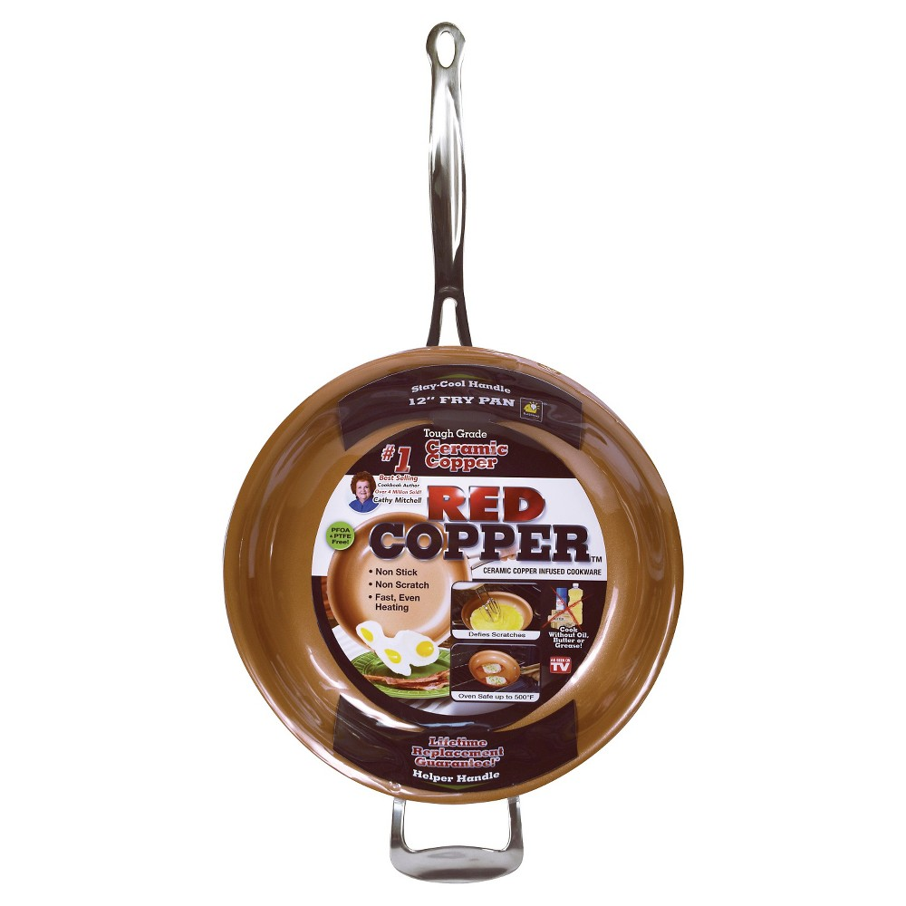 """Image of """"As Seen on TV 12"""""""" Frying Pan Red Copper"""""""