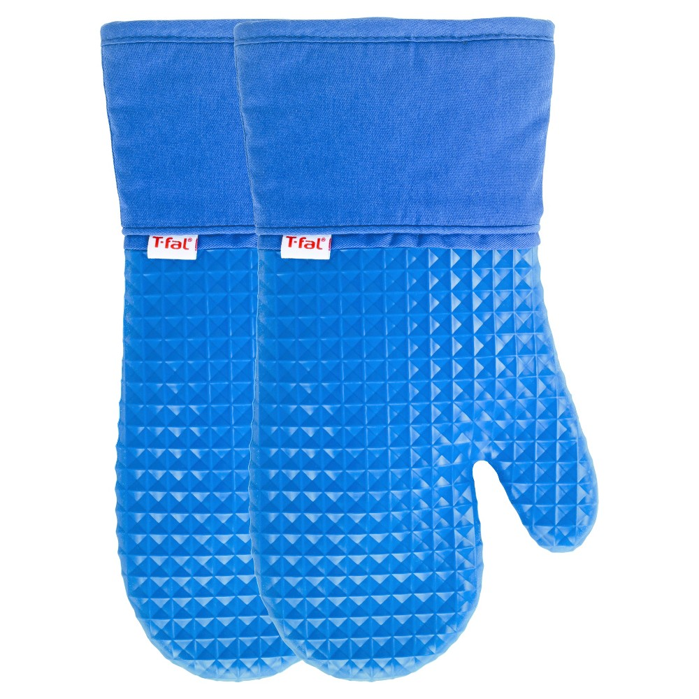 Image of 2pk Blue Waffle Silicone Oven Mitt - T-Fal