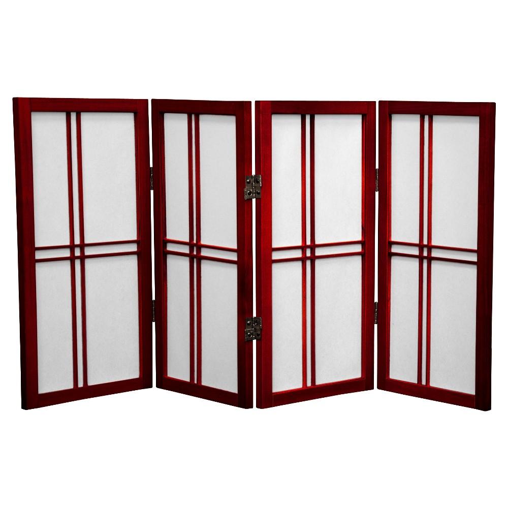 2 ft. Tall Desktop Double Cross Shoji Screen - Rosewood (4 Panels) - Oriental Furniture, Burgandian Wine
