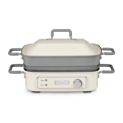 Cuisinart STACK5 Multifunctional Grill Slow Cook  Bake Saute and Steam - Cream and Gray - GR-M3
