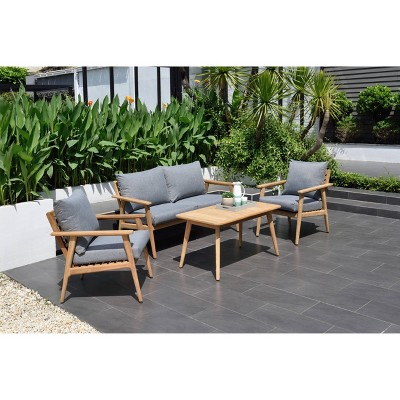 Burano 4pc Patio Deep Seating Conversation Set Deluxe - Gray - Amazonia