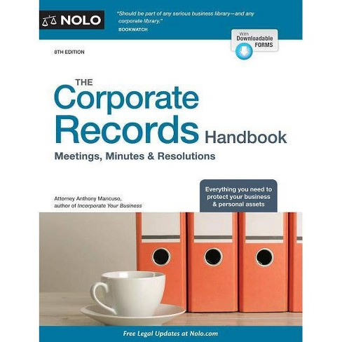 The Corporate Records Handbook - 8 Edition by  Anthony Mancuso (Paperback) - image 1 of 1