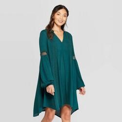 Women's Long Sleeve V-Neck Shift Mini Dress - Knox Rose™