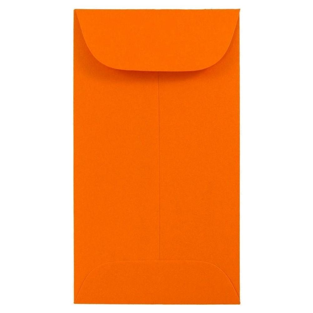 Jam Paper Brite Hue #6 Coin Envelopes, 3 3/8 x 6, 50 per pack, Orange, Orange Smoothie