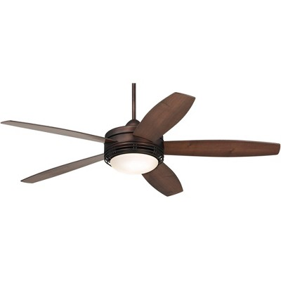 "60"" Casa Vieja Modern Outdoor Ceiling Fan with Light LED Remote Oil Brushed Bronze Reversible Blades Damp Rated for Patio Porch"