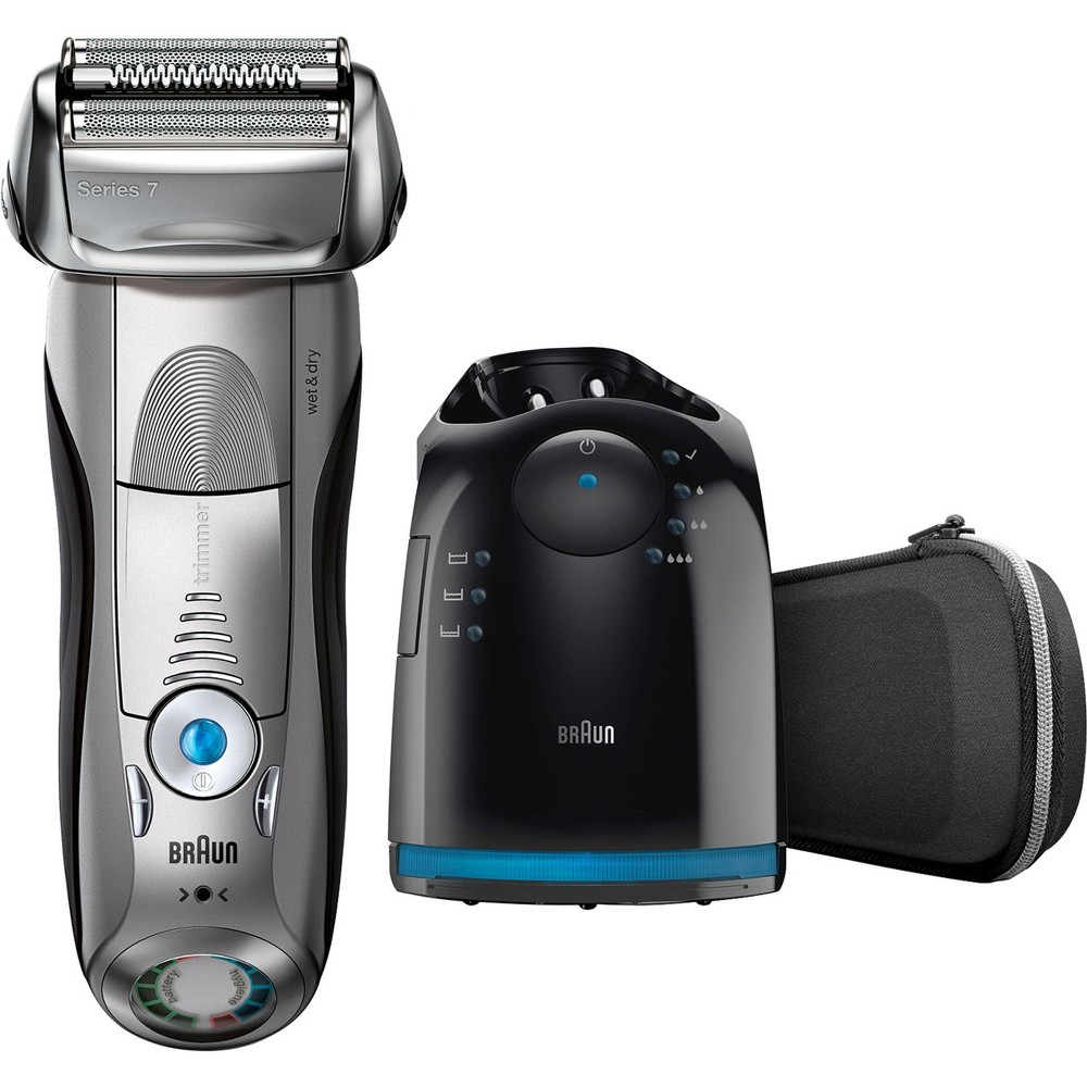 Braun Series 7 Men's Rechargeable Wet & Dry Electric Foil Shaver with Cleaning Station, Black