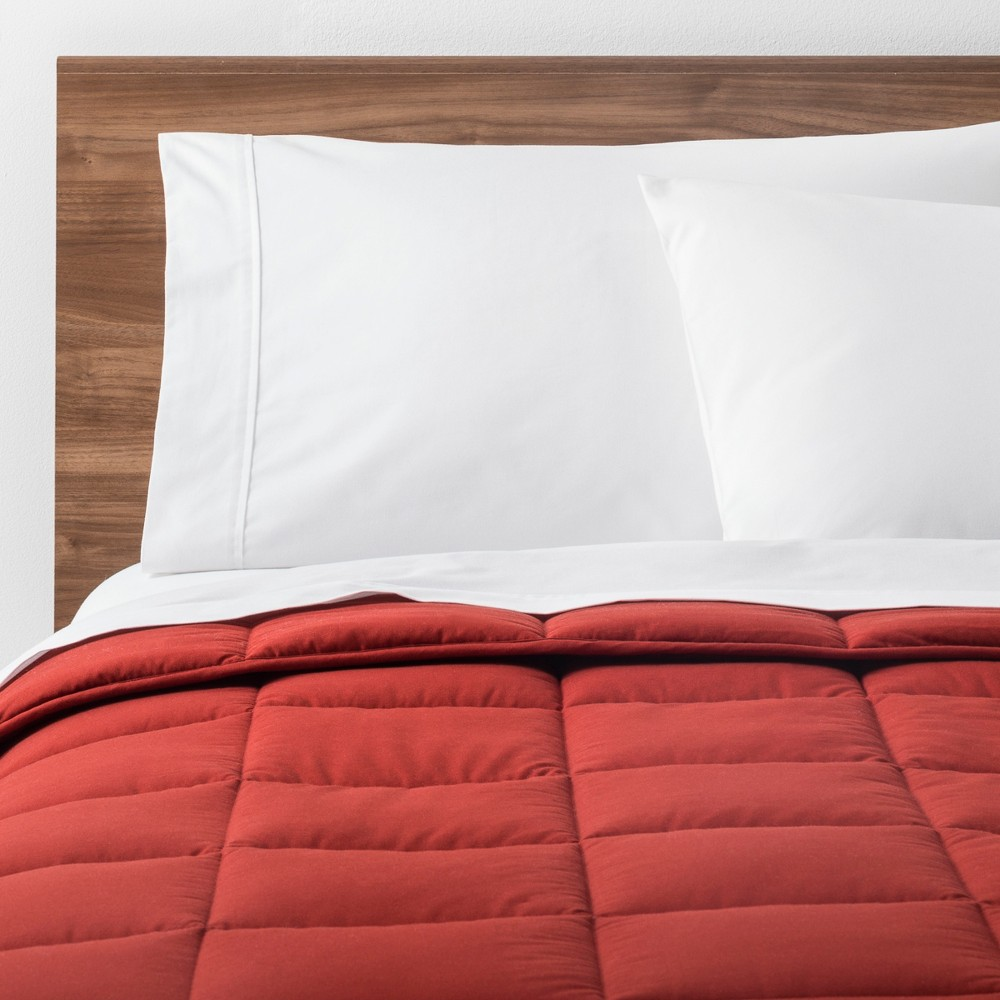 Image of Rust Solid Down Alternative Comforter (Twin XL) - Made By Design , Size: Twin Extra Long, Red