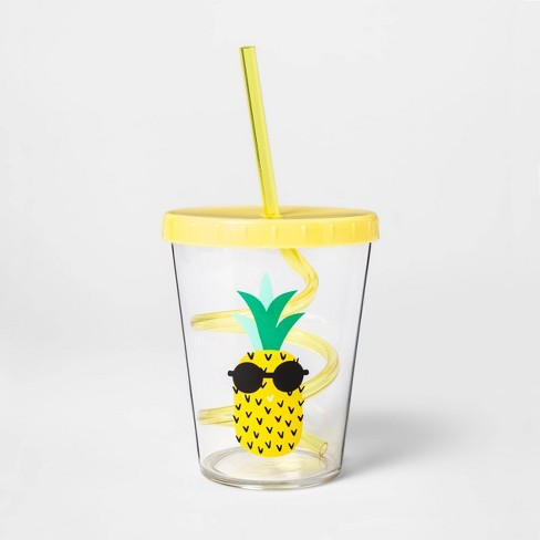 15oz Plastic Pineapple Tumbler with Lid and Straw Yellow - Sun Squad™ - image 1 of 1