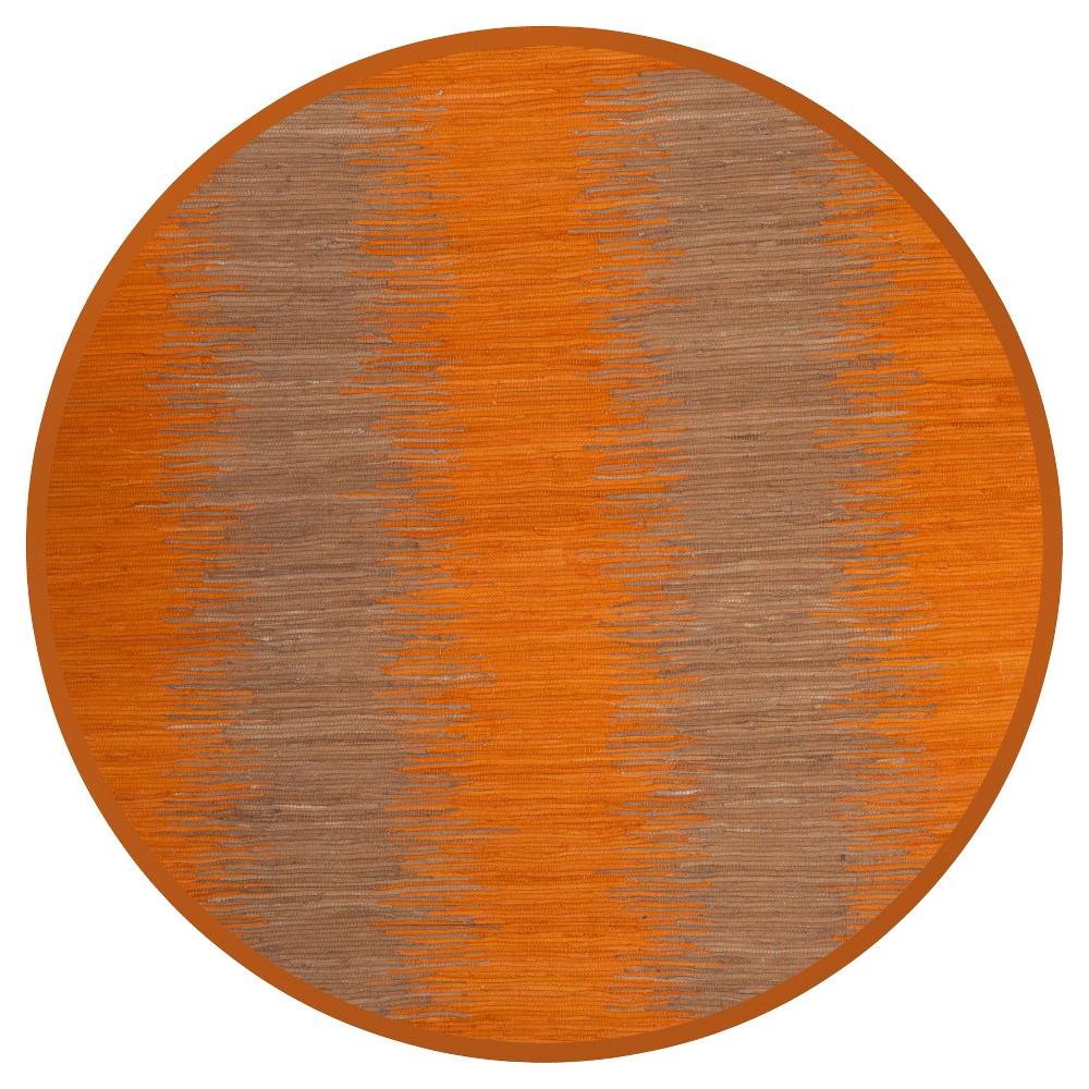 Orange Geometric Flatweave Woven Round Area Rug 6' - Safavieh