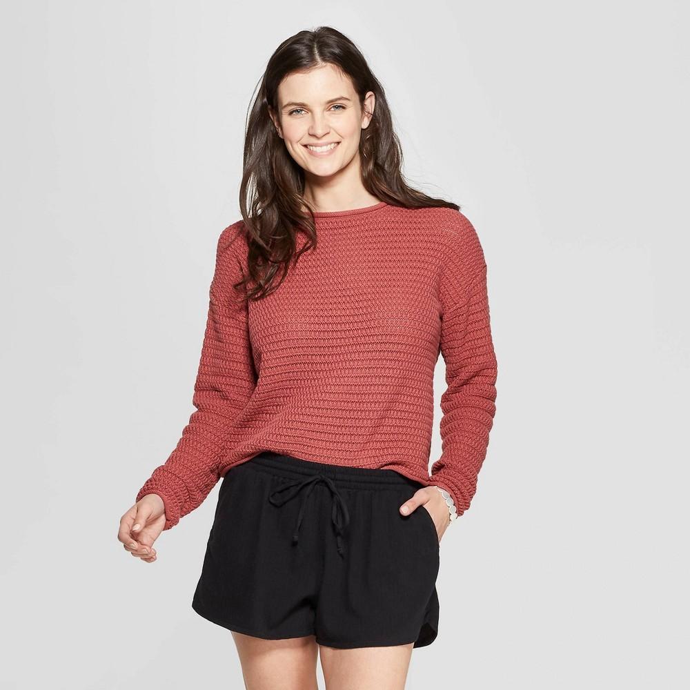 Women's Open Stitch Pullover Sweater - Universal Thread Pink XL