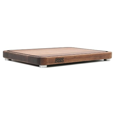 John Boos Walnut Wood Edge Grain Tenmoku Kitchen Countertop Chopping Block Cutting Board w/ Juice Groove & Stainless Steel Feet, 20 x 15 x 1.5 Inches