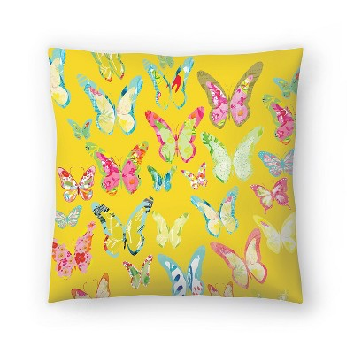 Americanflat Bug Butterflies Yellow by Kristine Lombardi Throw Pillow
