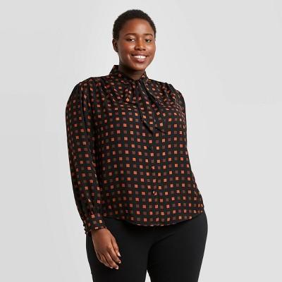 Women's Plus Size Printed Long Sleeve Tie Neck Bow Blouse - Ava & Viv™