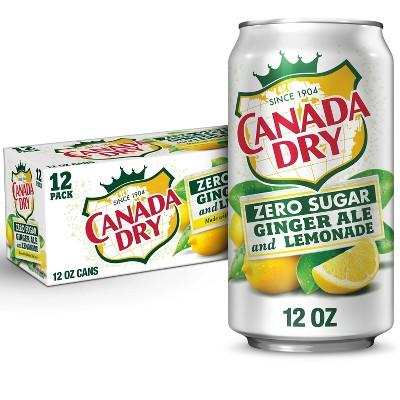 Canada Dry Zero Sugar Ginger Ale and Lemonade Soda - 12pk/12 fl oz Cans