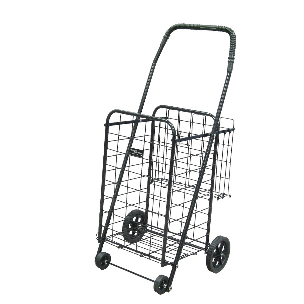 Narita Mini Shopping Cart Plus, Black This quality, four-wheel Easy Wheels Shopping Cart Plus works well for your shopping, laundry and many other purposes. This black shopping cart plus, 1 ct, is coated with a durable epoxy finish. This Mini Shopping Cart plus also features an extra basket in the rear for more storage when needed. With hardened plastic wheels, this cart is made of heavy-gauge steel for durability and will last for years to come. This Easy Wheels Shopping Cart Plus also folds flat for easy storage when not in use. Easy Wheels Mini Shopping Cart Plus: Made of heavy-gauge steel for durability Hardened plastic wheels Folds flat for easy storage