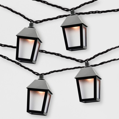 10ct Outdoor Lantern String Lights Black - Threshold™