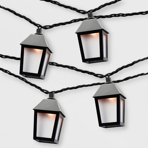 Outdoor Lantern String Lights Black