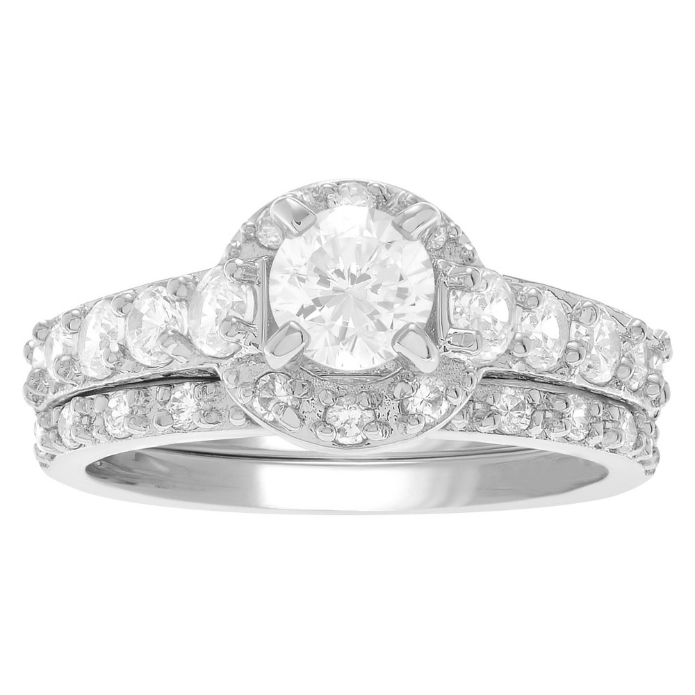 1 4/5 CT. T.W. Round-cut CZ Prong Set Wedding Ring Set in Sterling Silver - Silver, 9, Girl's