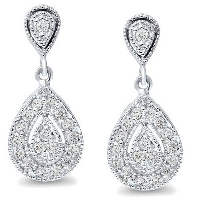 Pompeii3 1/2ct Pear Shape Dangle Diamond Earrings 10K White Gold