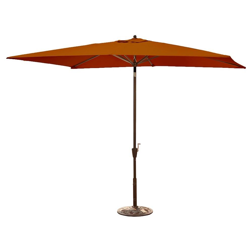 Image of Island Umbrella Adriatic Market Umbrella in Terra Cotta Olefin - 6.5' x 10', Terracotta
