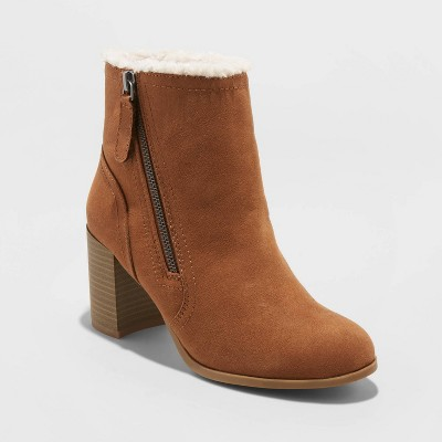 Women's Carmelo Microsuede Sherpa Lined Booties - A New Day™ Cognac 8.5