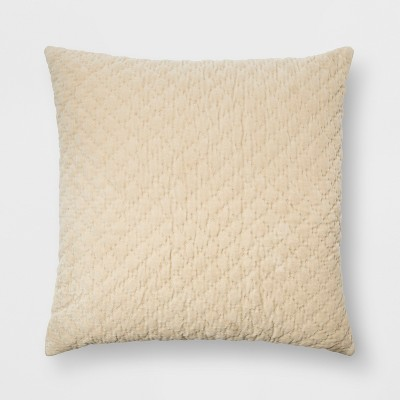 Hand Quilted Velvet With Zipper Closure Oversized Square Throw Pillow Cream - Threshold™