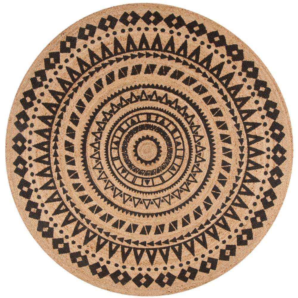 6 Solid Woven Round Area Rug Black Natural Safavieh