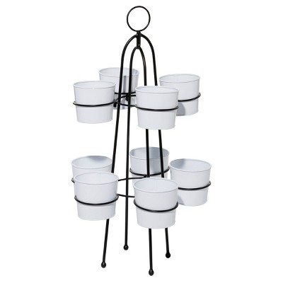 9-in-1 Metal Enamel Planter Stand White - Olivia & May