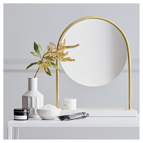 Round vanity mirror on marble stand project 62 target - Round mirror over bathroom vanity ...