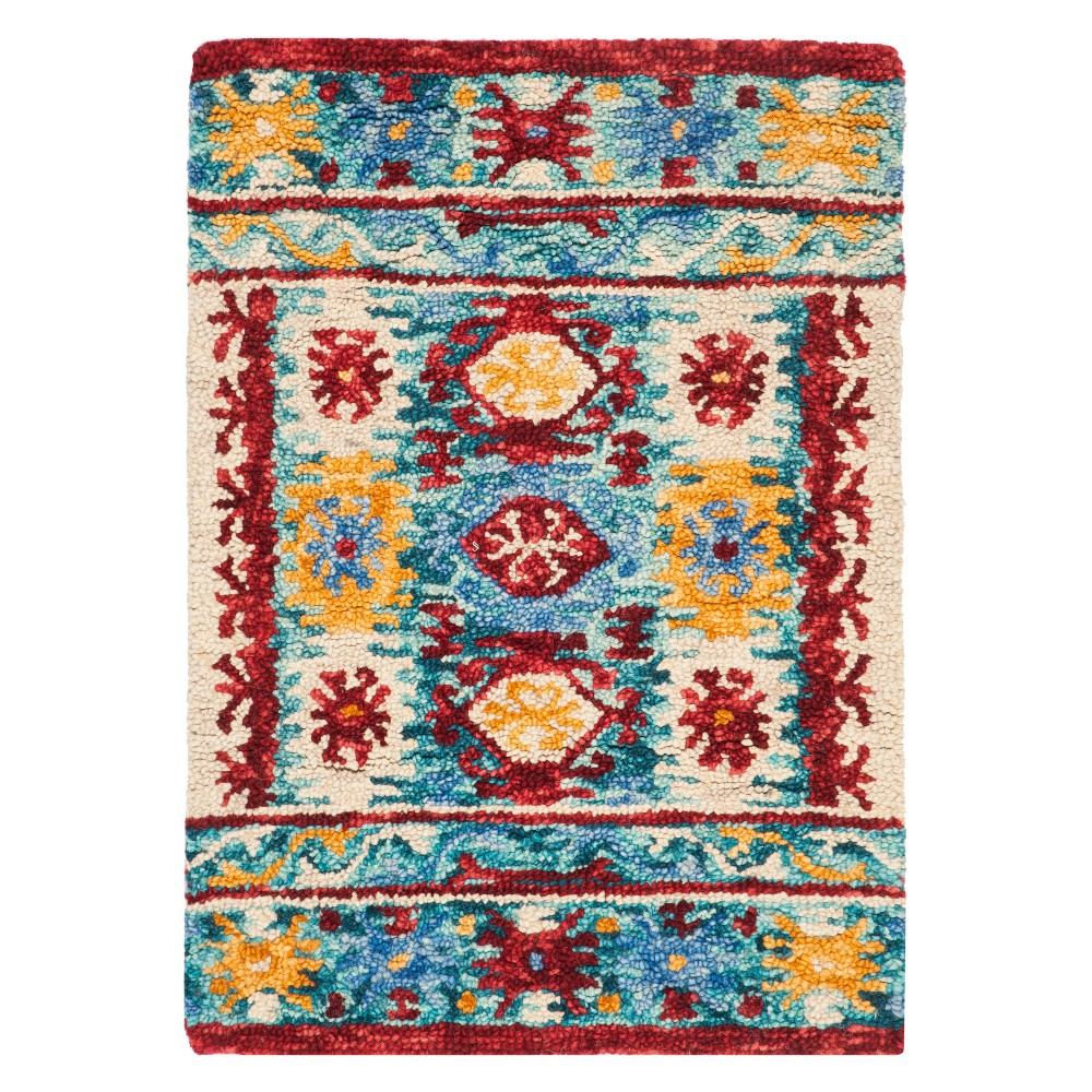 3X5 Geometric Design Tufted Accent Rug Blue/Red - Safavieh Price