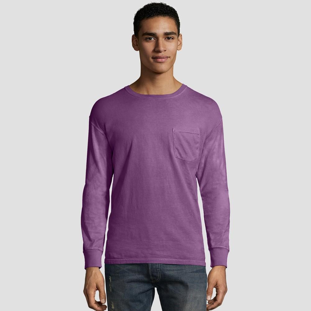 Hanes Men S Long Sleeve 1901 Garment Dyed Pocket T Shirt Plum Purple M