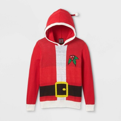 Boys' Santa Hooded Pullover Sweater - Red
