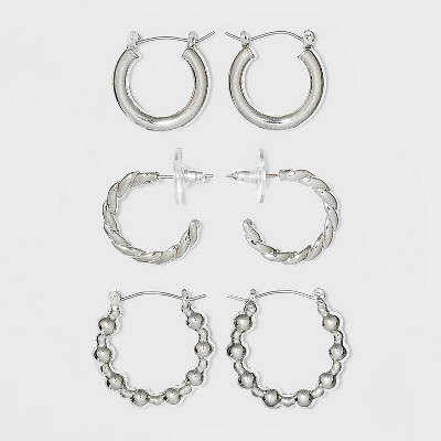 Imitation Rhodium Multipack Trio Hoop Earring Set - Wild Fable™ Silver
