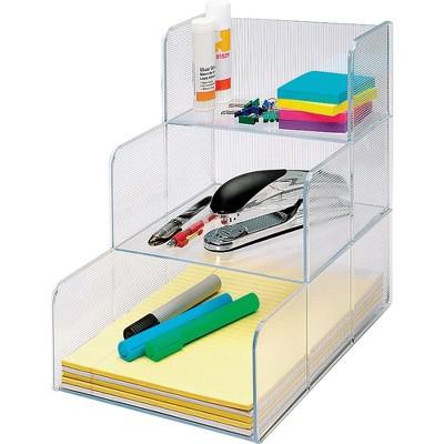 "Business Source Storage Organizer 3 Compartment 12""x9-3/8""x12"" Clear 82976"