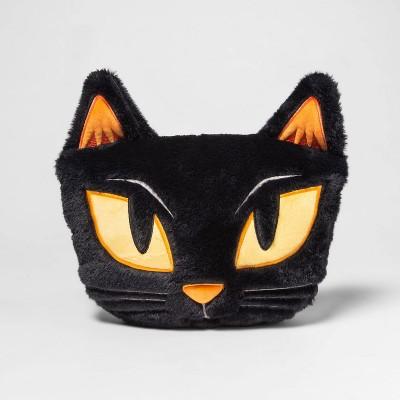 Cat Shaped Faux Fur Throw Pillow Black - Hyde & EEK! Boutique™