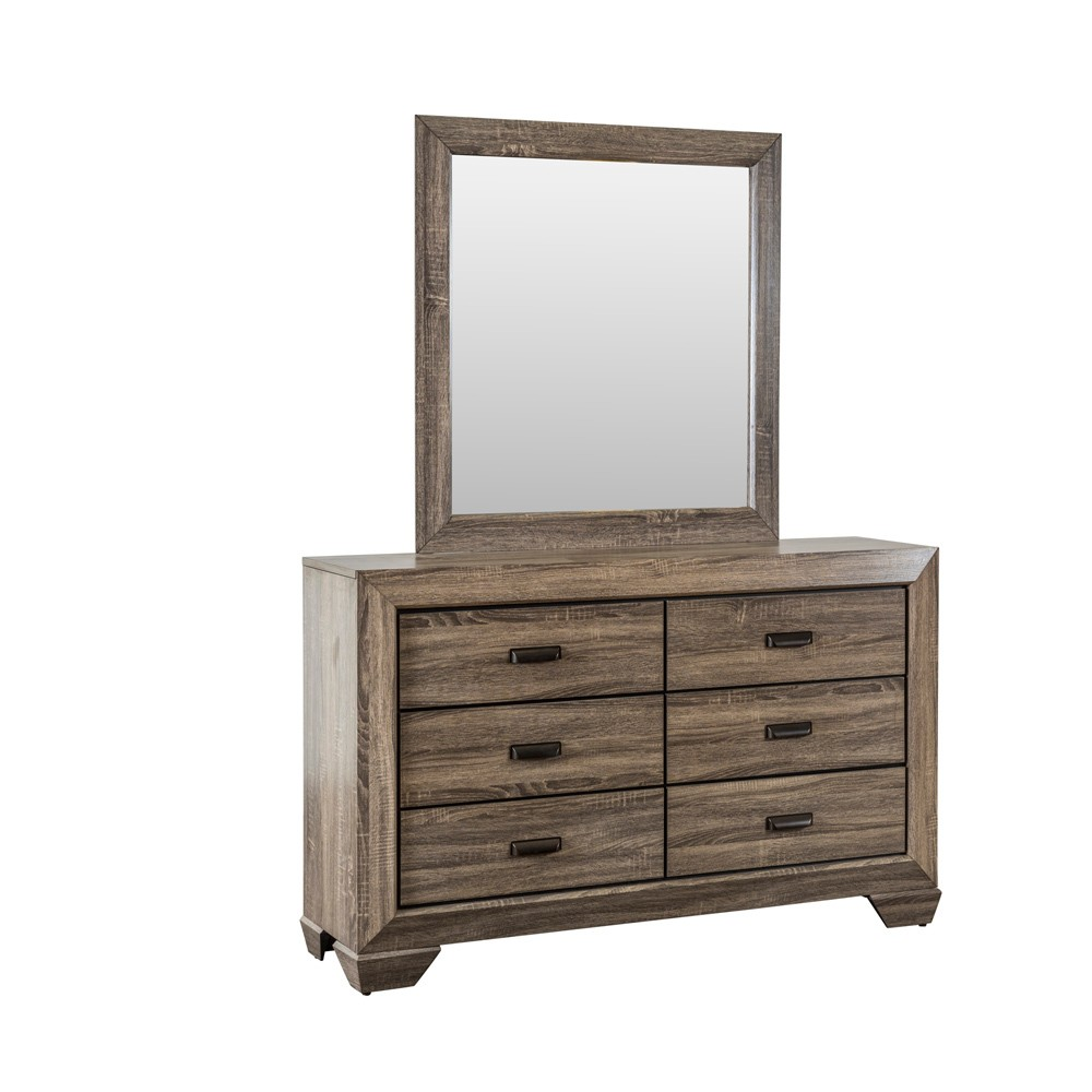 Image of Danielle Dresser And Mirror Set Warm Gray - Home Source Industries
