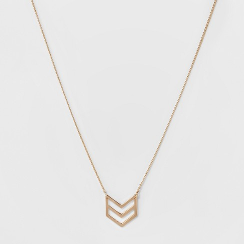 Double Chevron Short Pendant Necklace - A New Day™ Gold - image 1 of 3