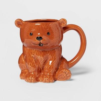 10.3oz Stoneware Bear Mug Brown - Threshold™